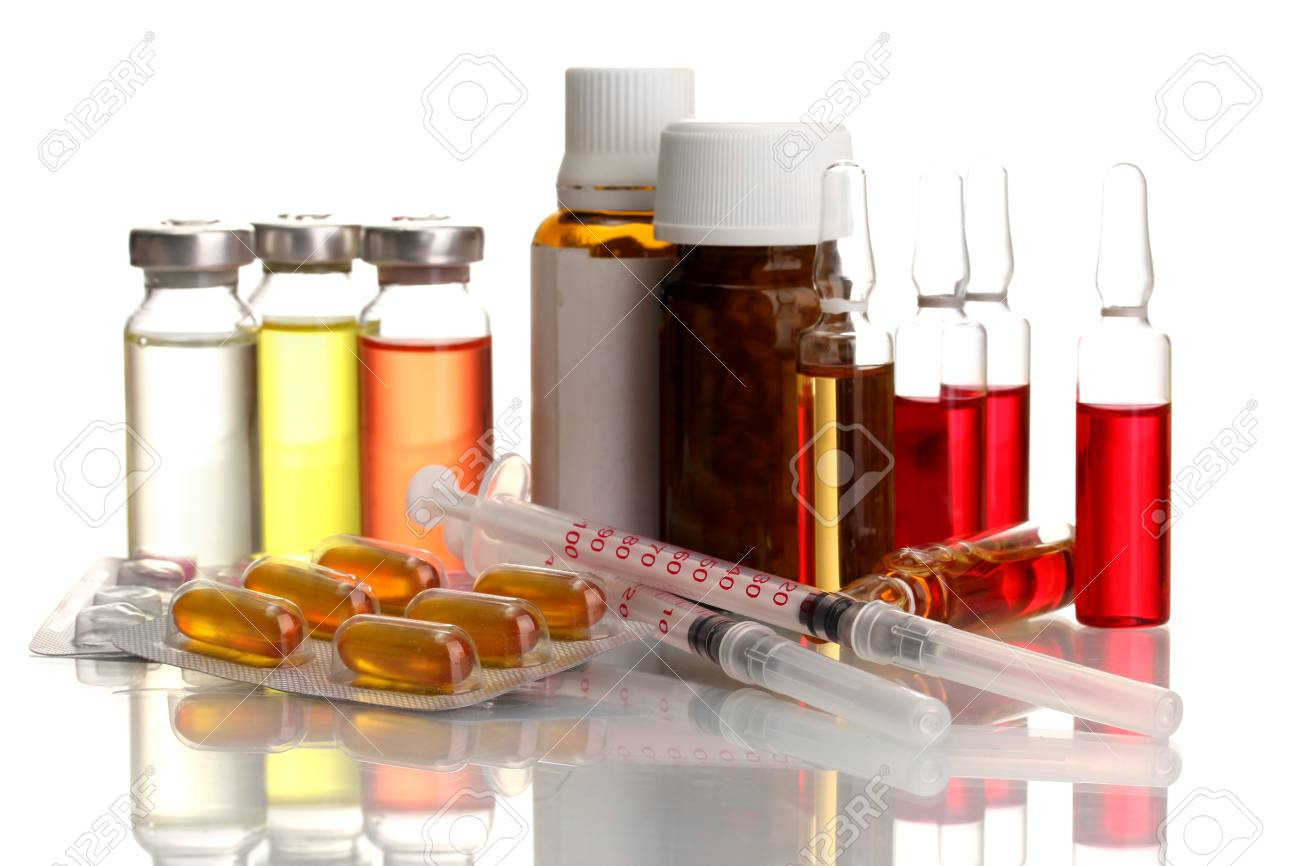 medical ampules, bottles, pills and syringes, isolated on white Stock Photo - 15922885