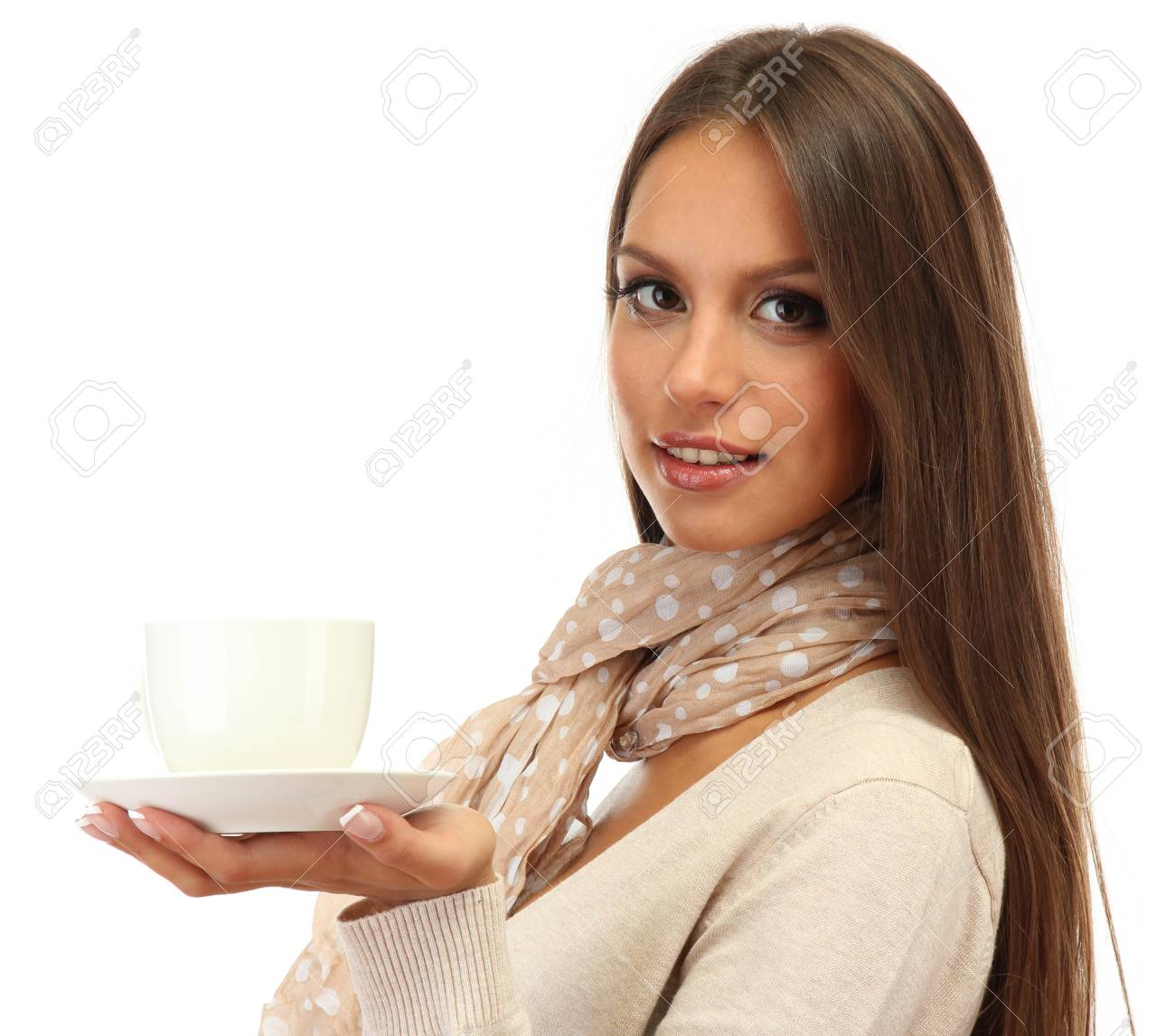 beautiful young woman with cup of coffee, isolated on white Stock Photo - 17131267