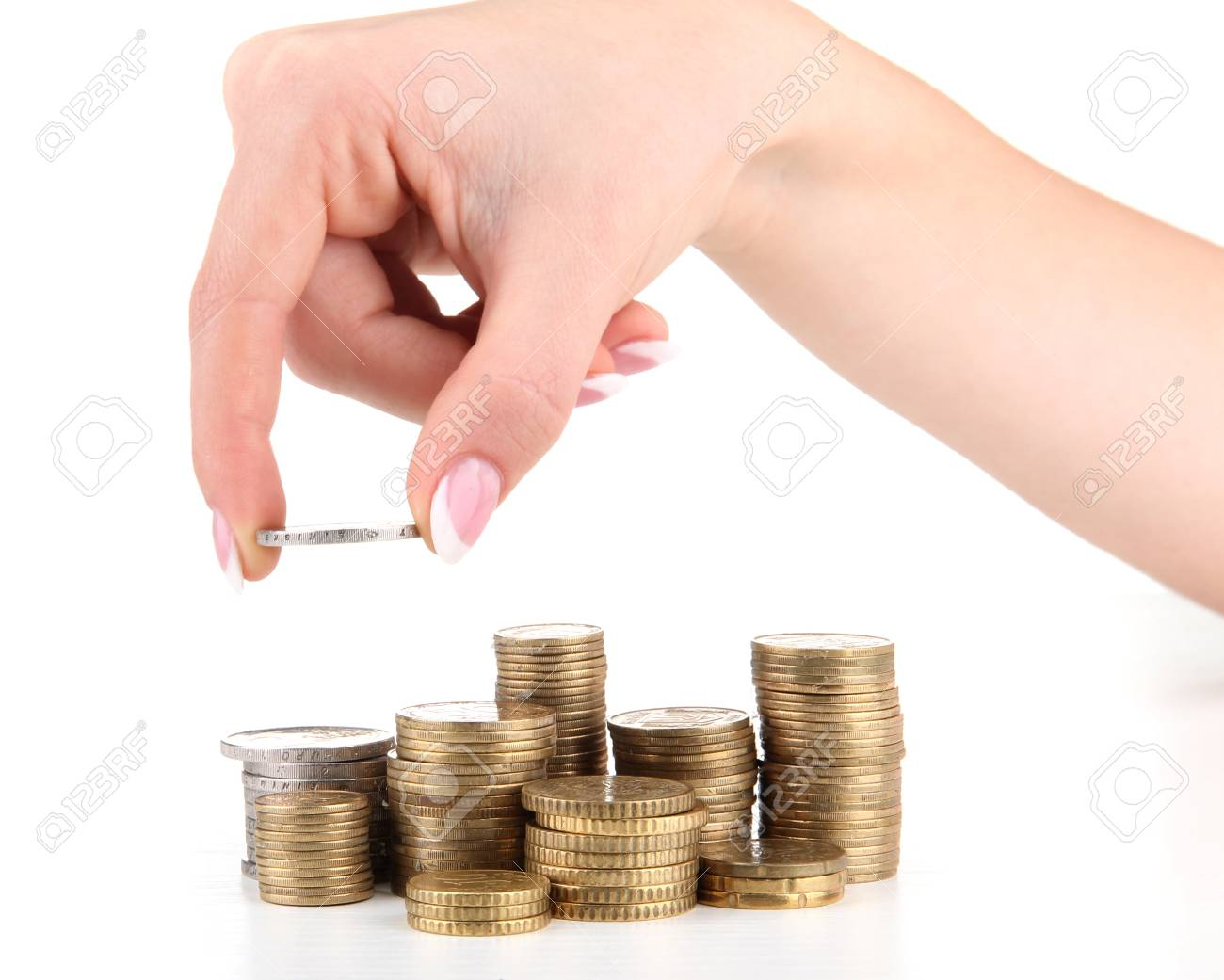Woman hand with coins, close up Stock Photo - 16105791
