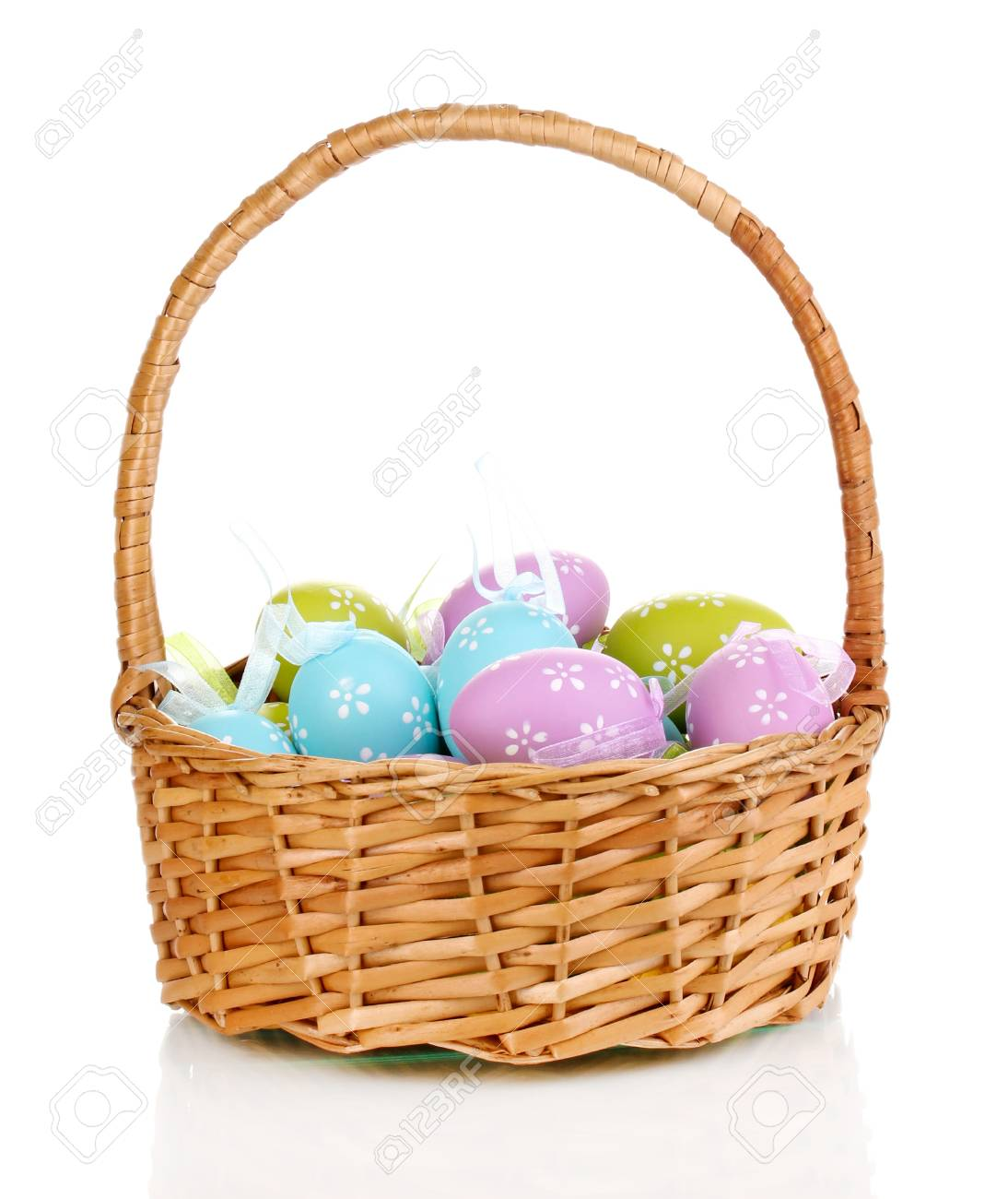 Colorful easter eggs in basket isolated on white Stock Photo - 16105696