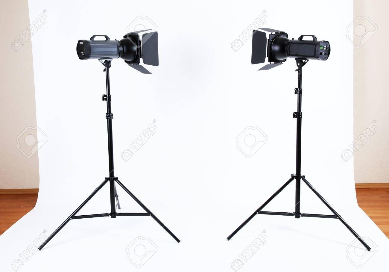 Empty Photo Studio With Lighting Equipment Stock Photo, Picture ... for Photography Lighting Equipment For Beginners  35fsj