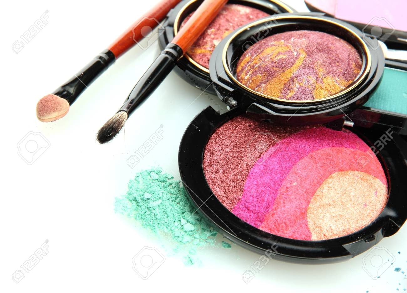 bright eye shadows and rouge with brushes, isolated on white Stock Photo - 16279066