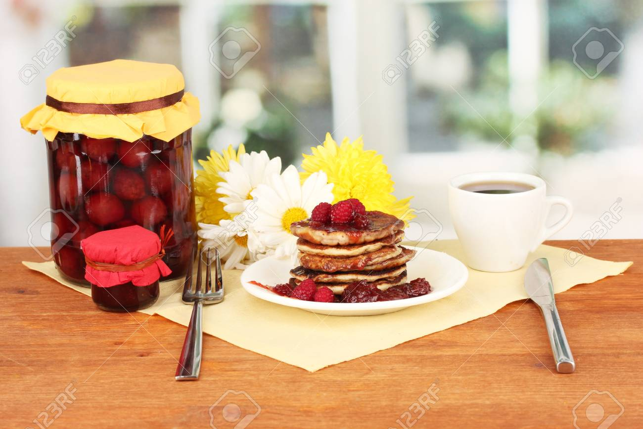 delicious sweet pancakes on bright background Stock Photo - 16291885