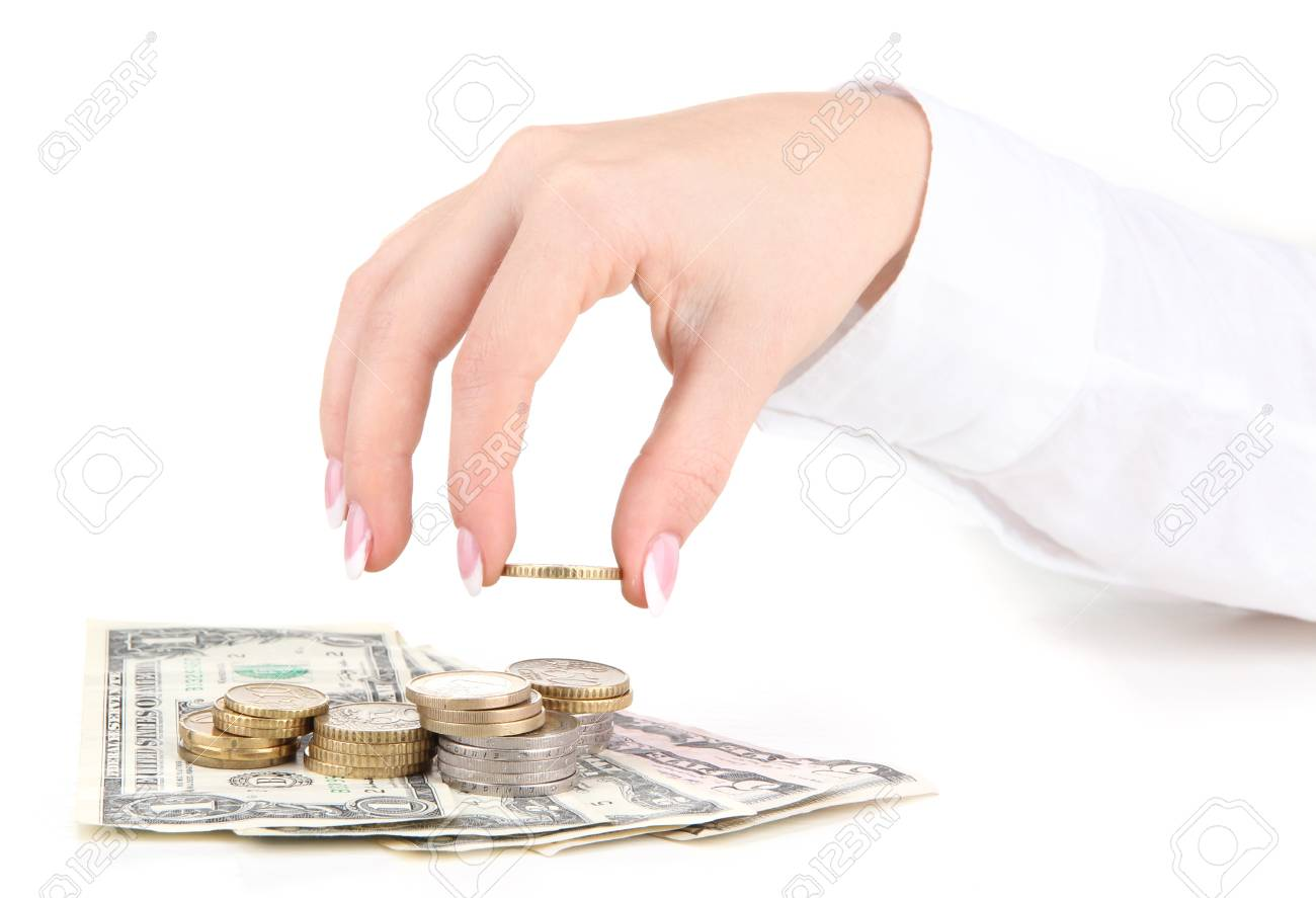 Woman hand with money, isolated on white Stock Photo - 16277046