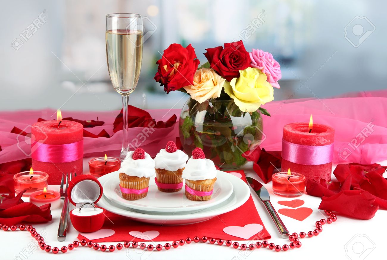 Table Setting In Honor Of Valentine\'s Day On Room Background Stock ...
