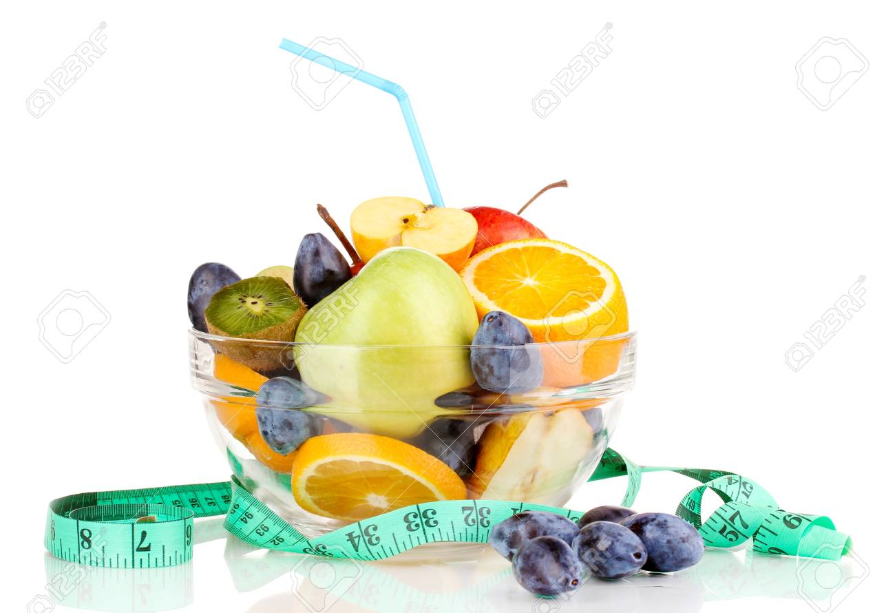Glass bowl with fruit for diet and measuring tape isolated on white Stock Photo - 16281238