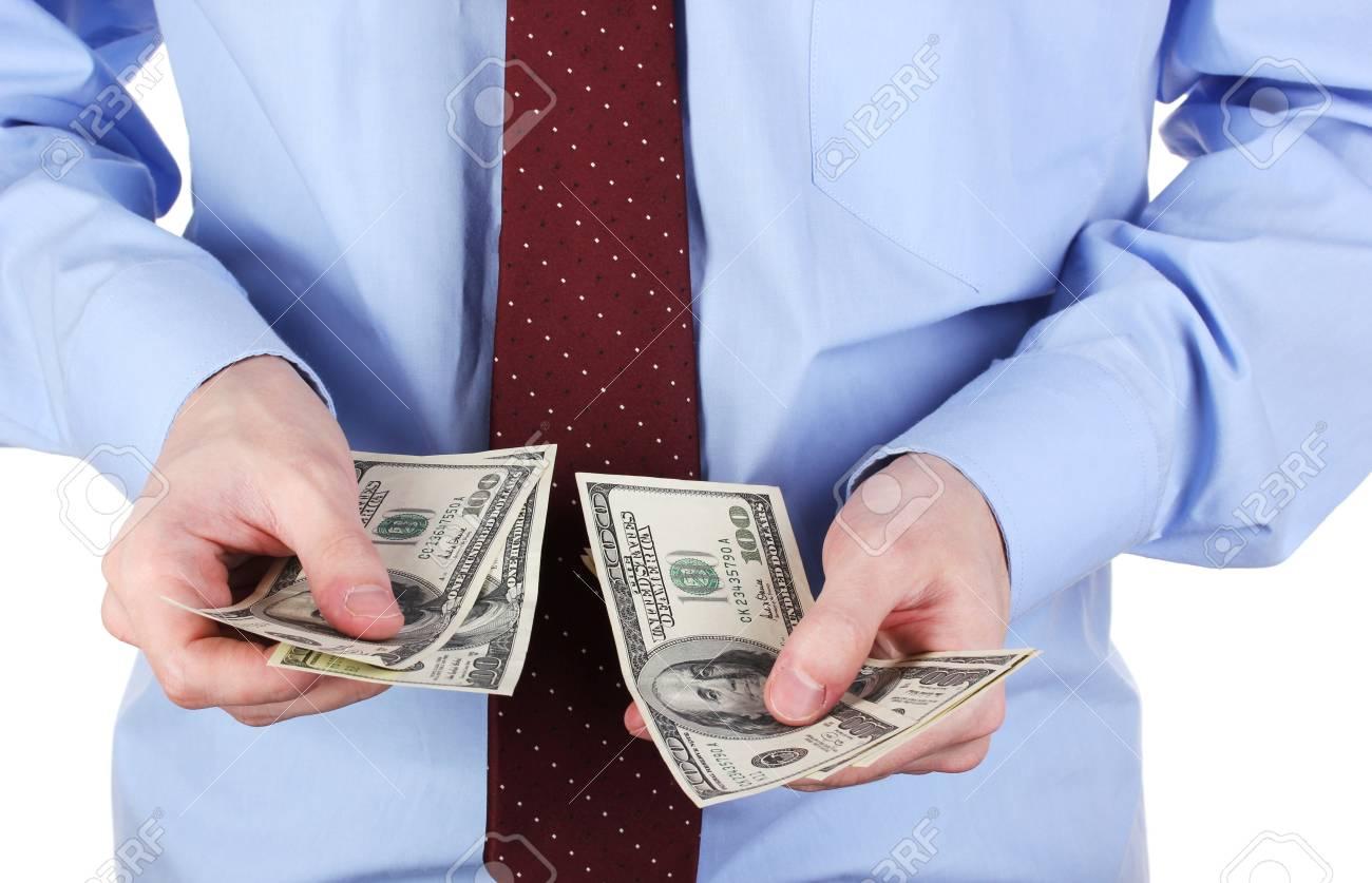 man recounts dollars close-up Stock Photo - 16329524