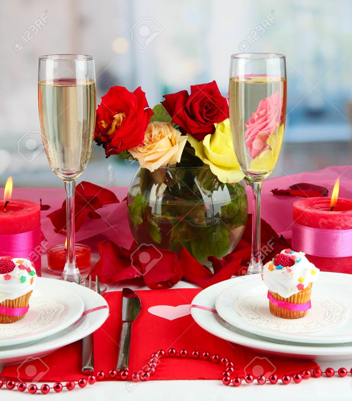 Stock Photo   Table Setting In Honor Of Valentineu0027s Day On Room Background