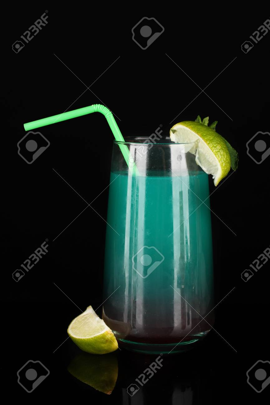 Glass of multicolor cocktail isolated on black Stock Photo - 16412316