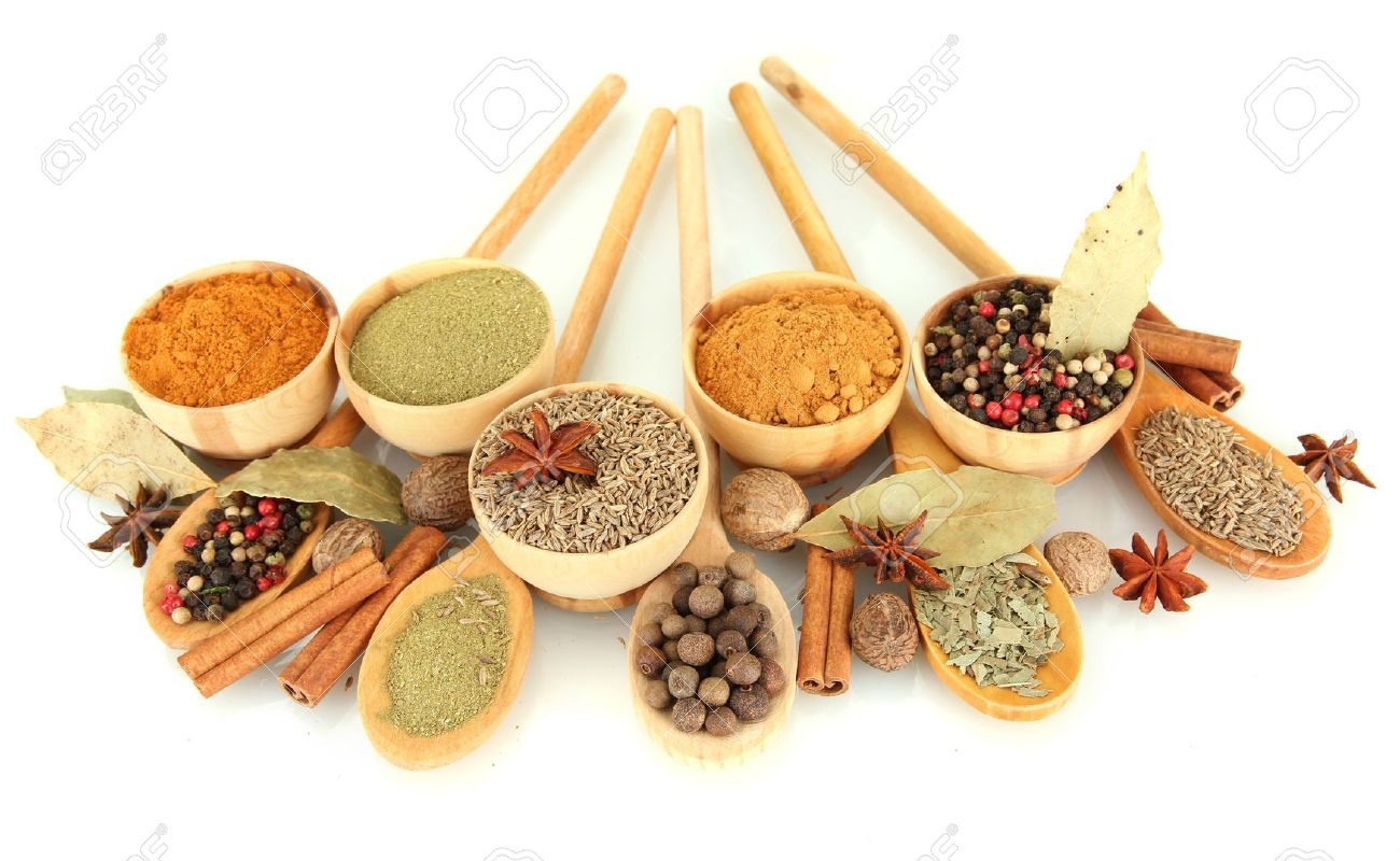 wooden bowls and spoons with spices isolated on white - 16491571