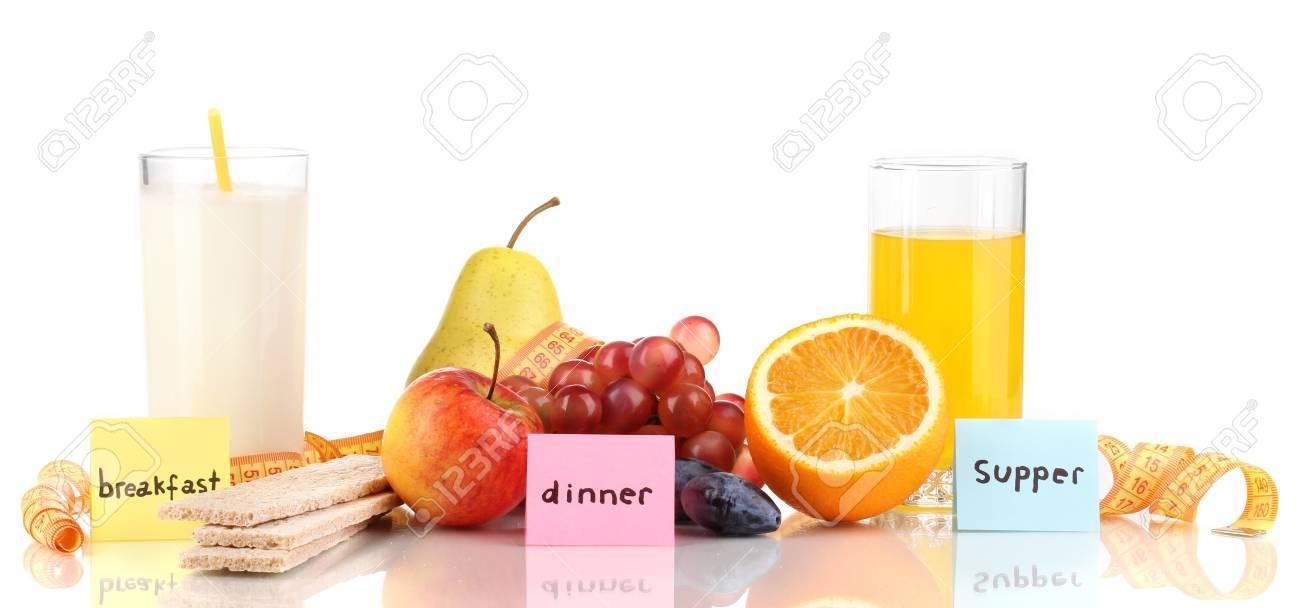 Diätetische Lebensmittel für Frühstück, Mittag-und Abendessen isoliert auf  weiß