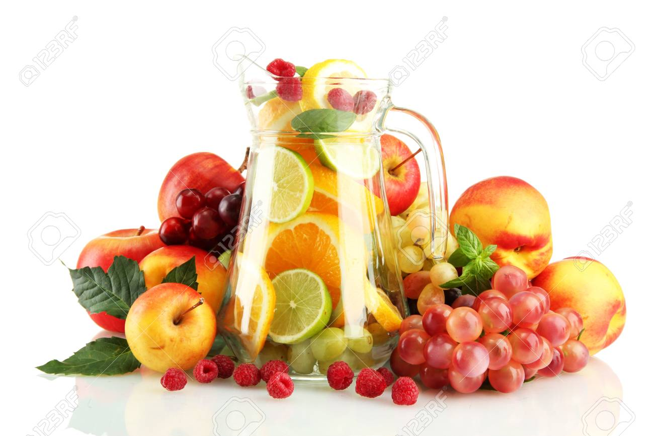 transparent jar with exotic  fruits, isolated on white Stock Photo - 16669238