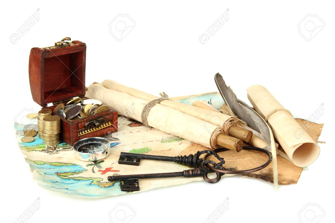 map and treasures, isolated on white Stock Photo - 16668837