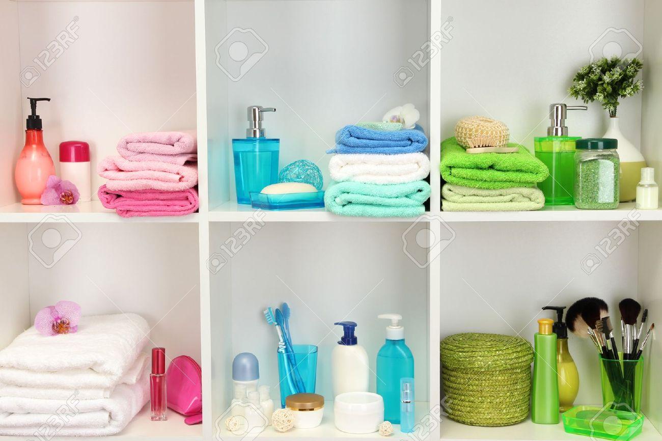 Bath accessories on shelfs in bathroom Stock Photo - 16670238