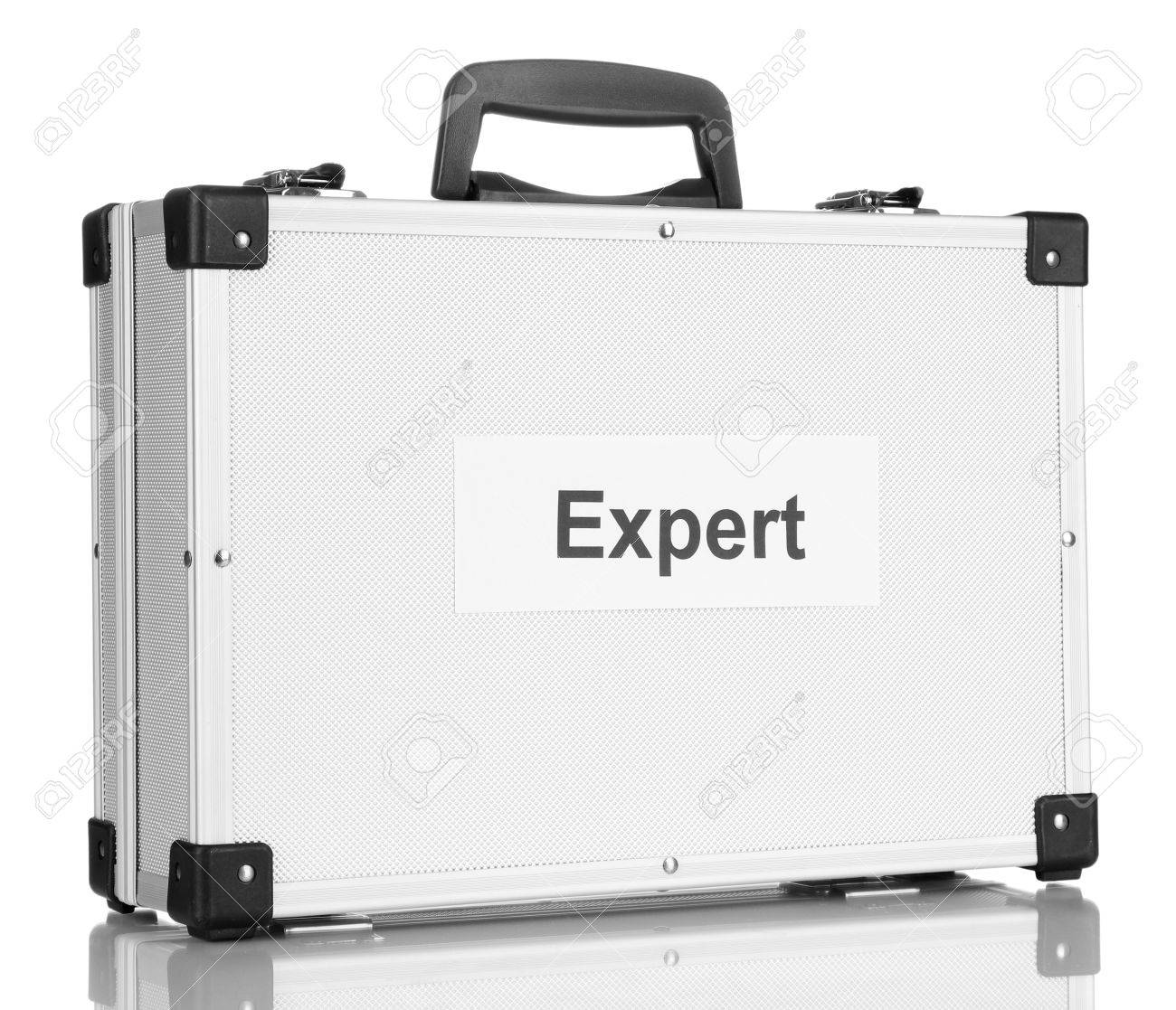 Silvery diplomat (suitcase) isolated on white Stock Photo - 16948713