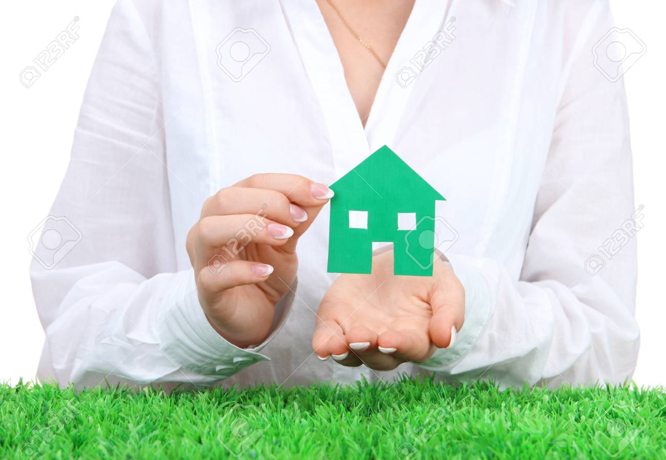 concept: woman hands with paper house, close up Stock Photo - 17000259