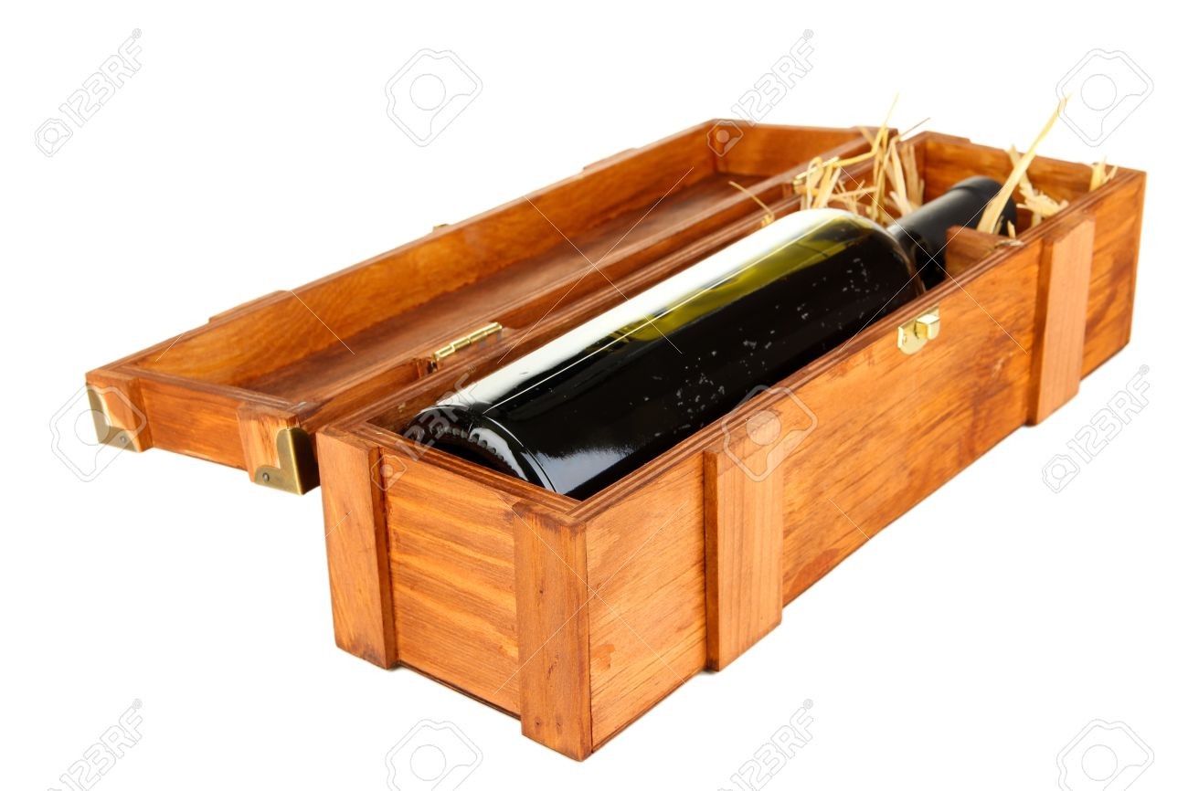 Wooden case with wine bottle isolated on white Stock Photo - 16999767