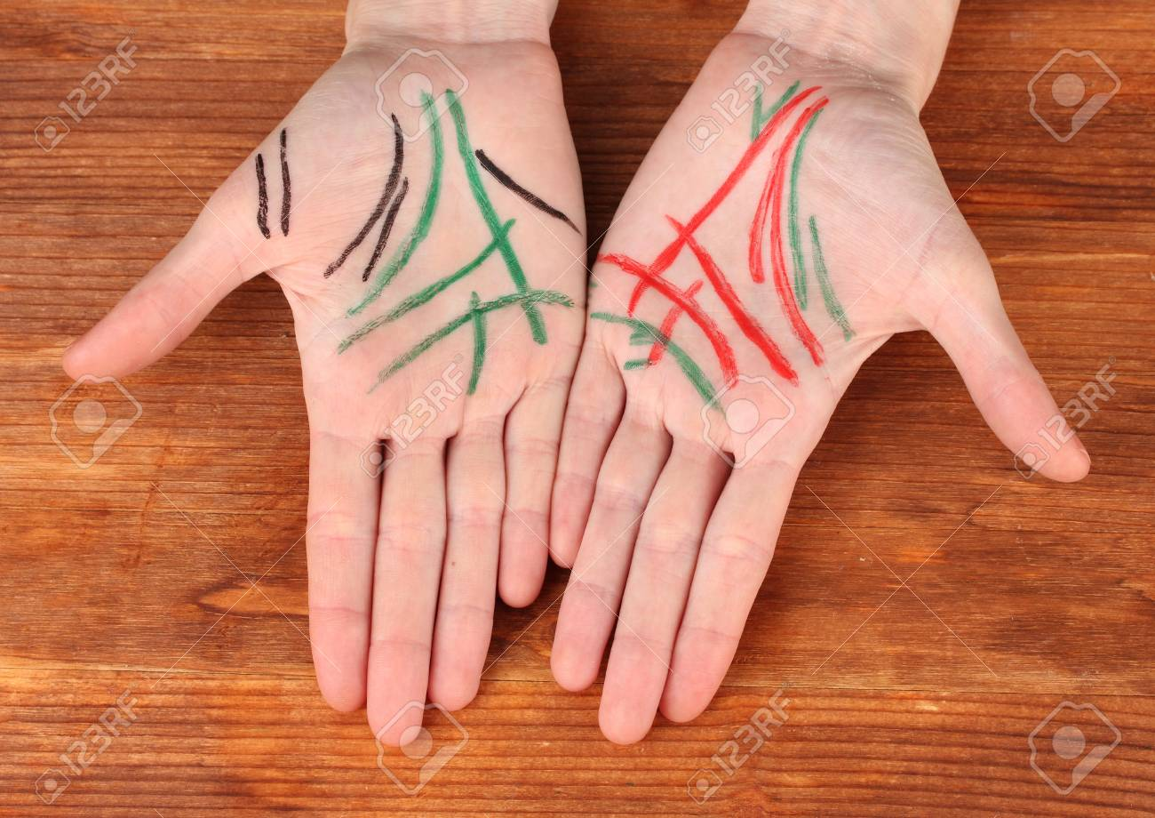Chiromancy.Color contours on palm, on wooden background Stock Photo - 17054639