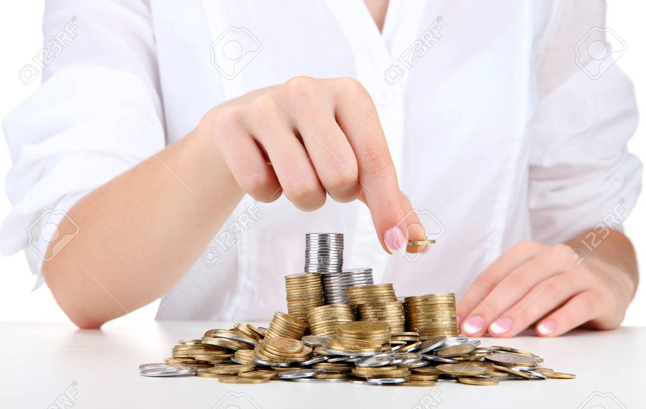 Woman hands with coins, close up Stock Photo - 17083638