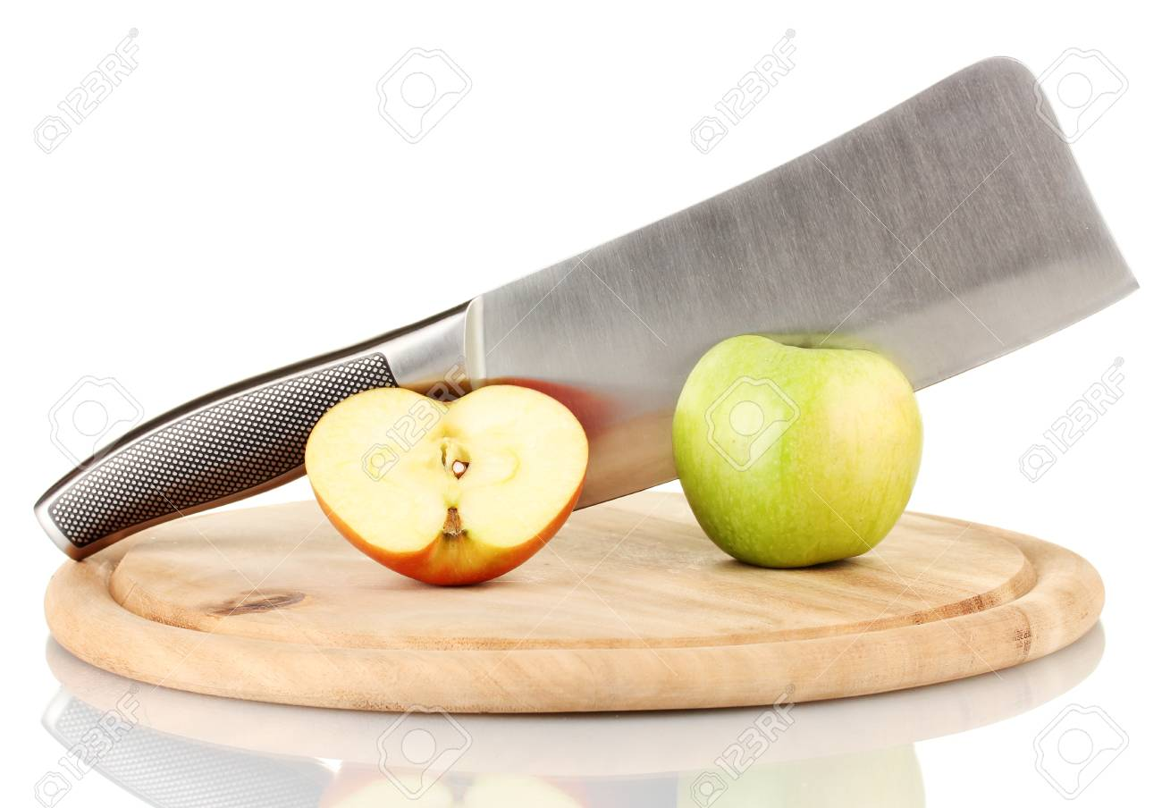 Green apple and knife on cutting board, isolated on white Stock Photo - 17133068