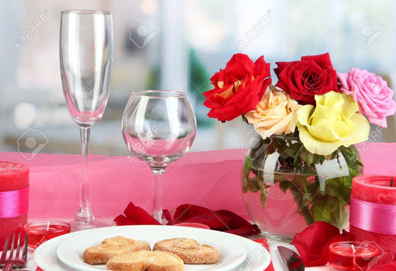 Table Setting Background table setting in honor of valentine's day on room background stock