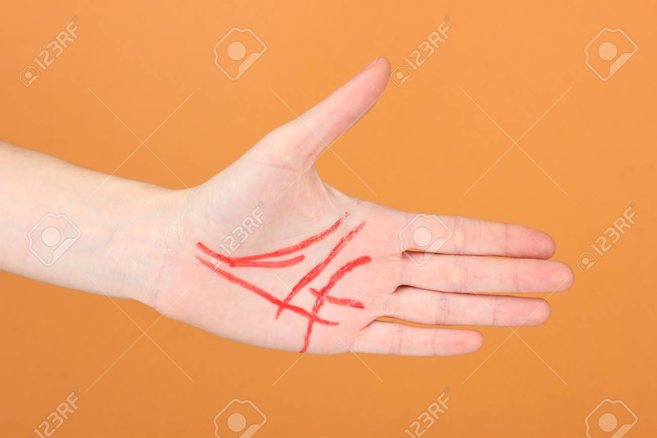 Chiromancy.Color contours on palm, on color background Stock Photo - 17139067