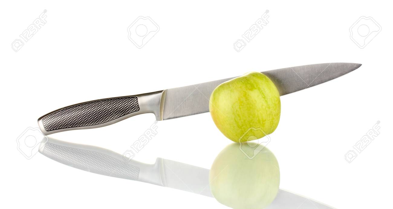 Green apple and knife isolated on white Stock Photo - 17183616