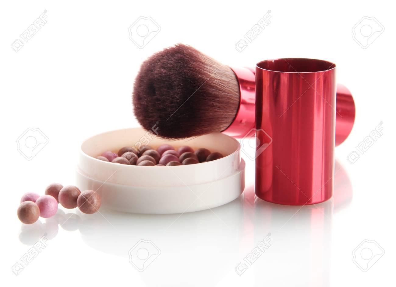 powder and brush isolated on white Stock Photo - 17264630