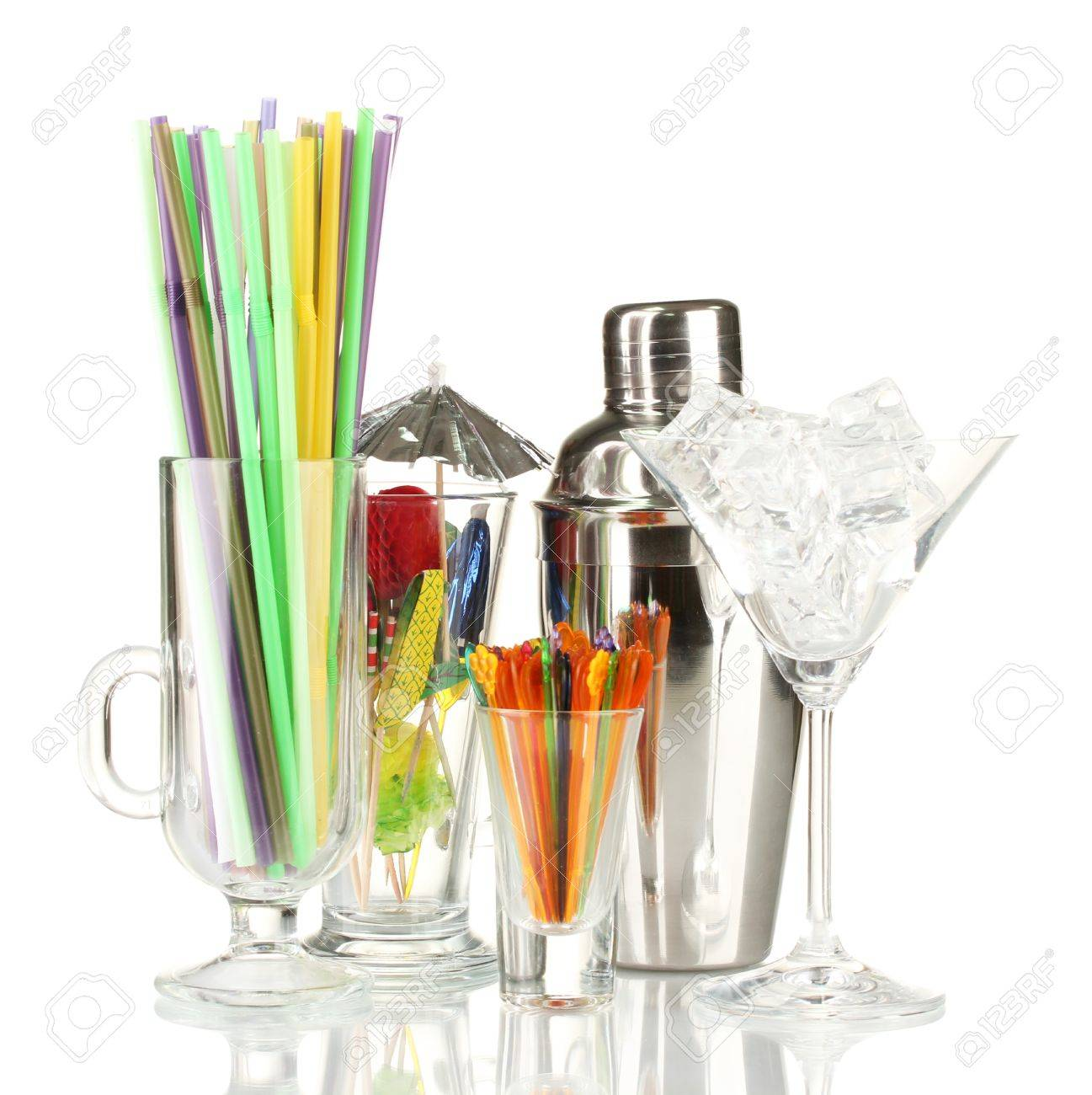 Cocktail shaker and  other bartender equipment isolated on white Stock Photo - 17349311