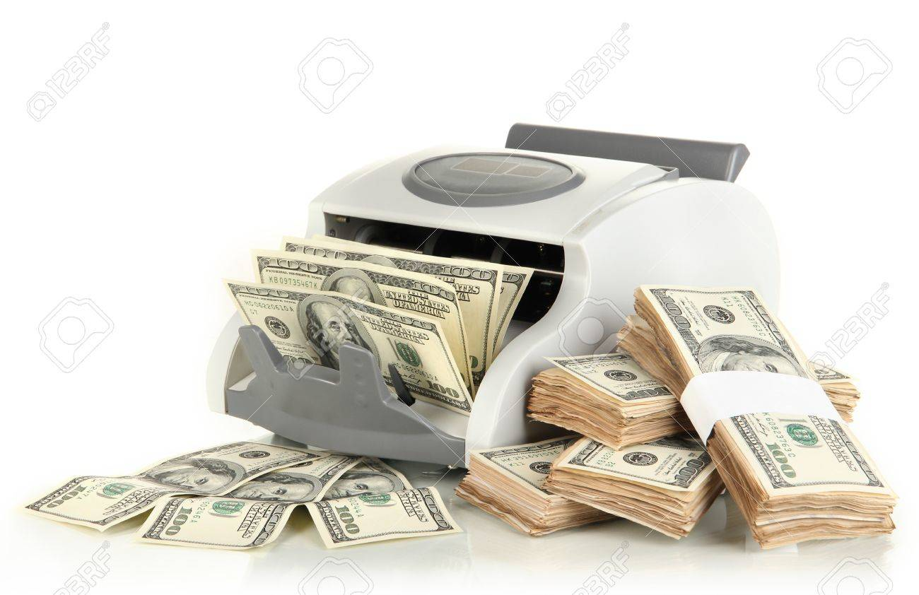 Machine for counting money and 100 dollar bills isolated on white Stock Photo - 17350804
