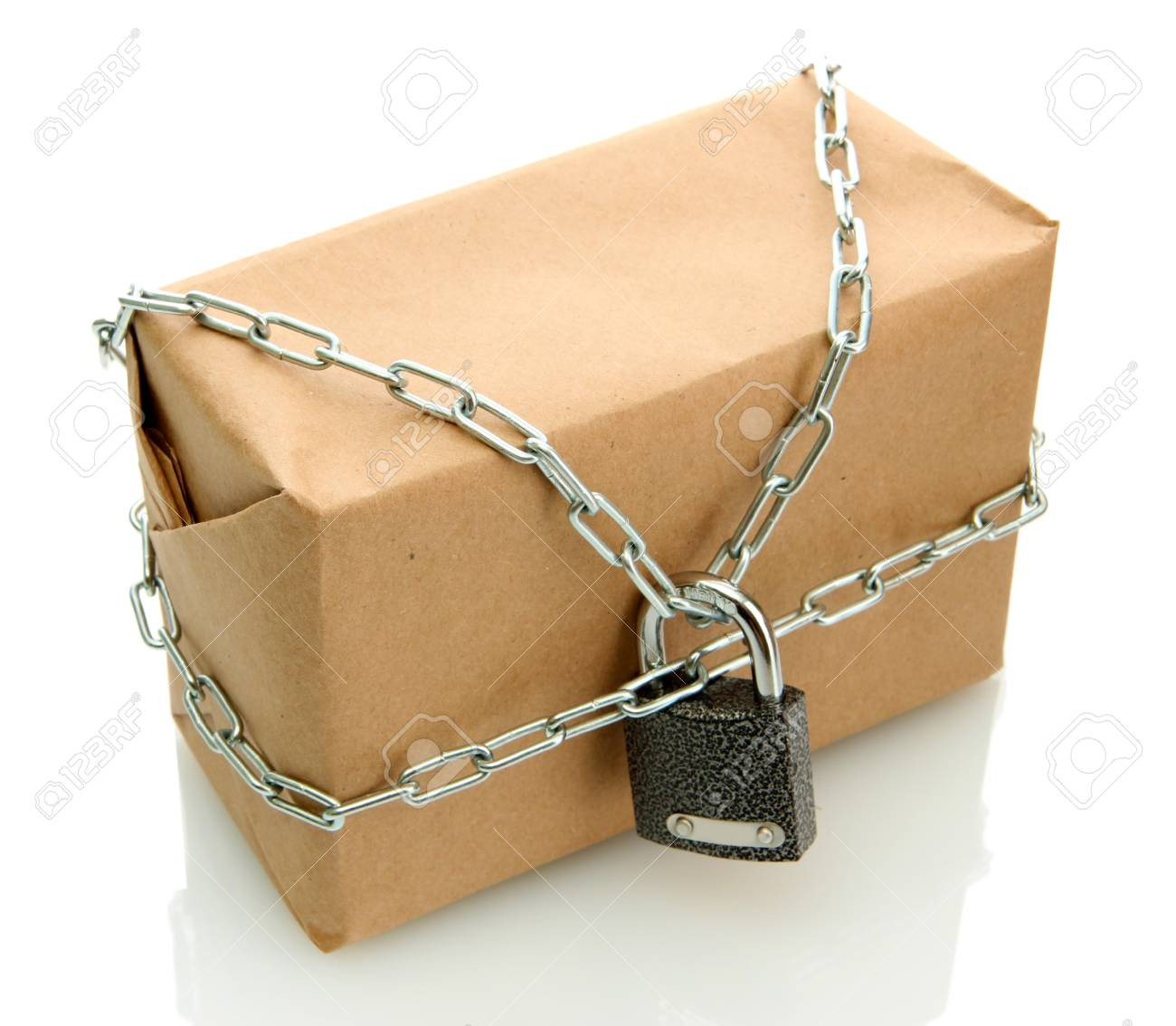 parcel with chain and padlock, isolated on white Stock Photo - 17399150