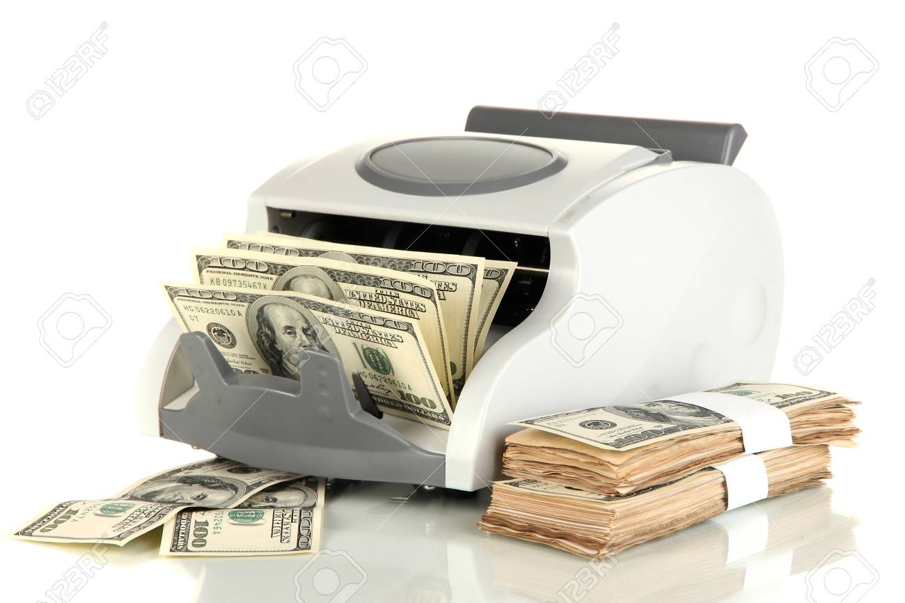Machine for counting money and 100 dollar bills isolated on white Stock Photo - 17400254