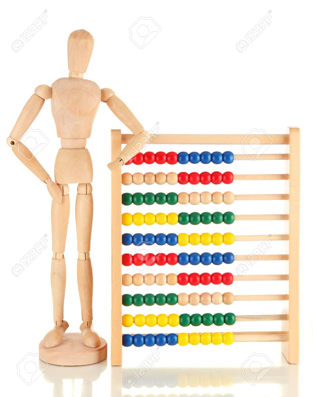 Bright toy abacus and wooden dummy, isolated on white Stock Photo - 17401256