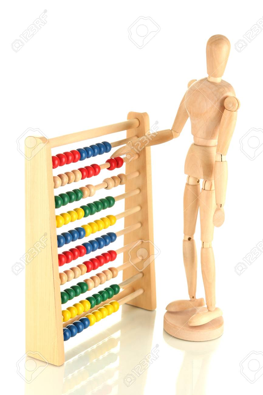 Bright toy abacus and wooden dummy, isolated on white Stock Photo - 17463325