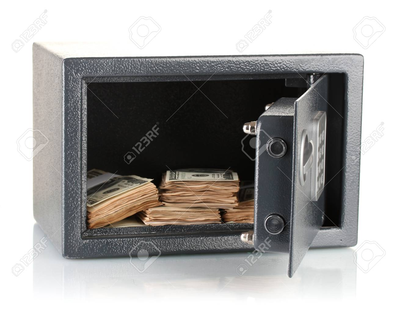 Money in open safe isolated on white Stock Photo - 17485610