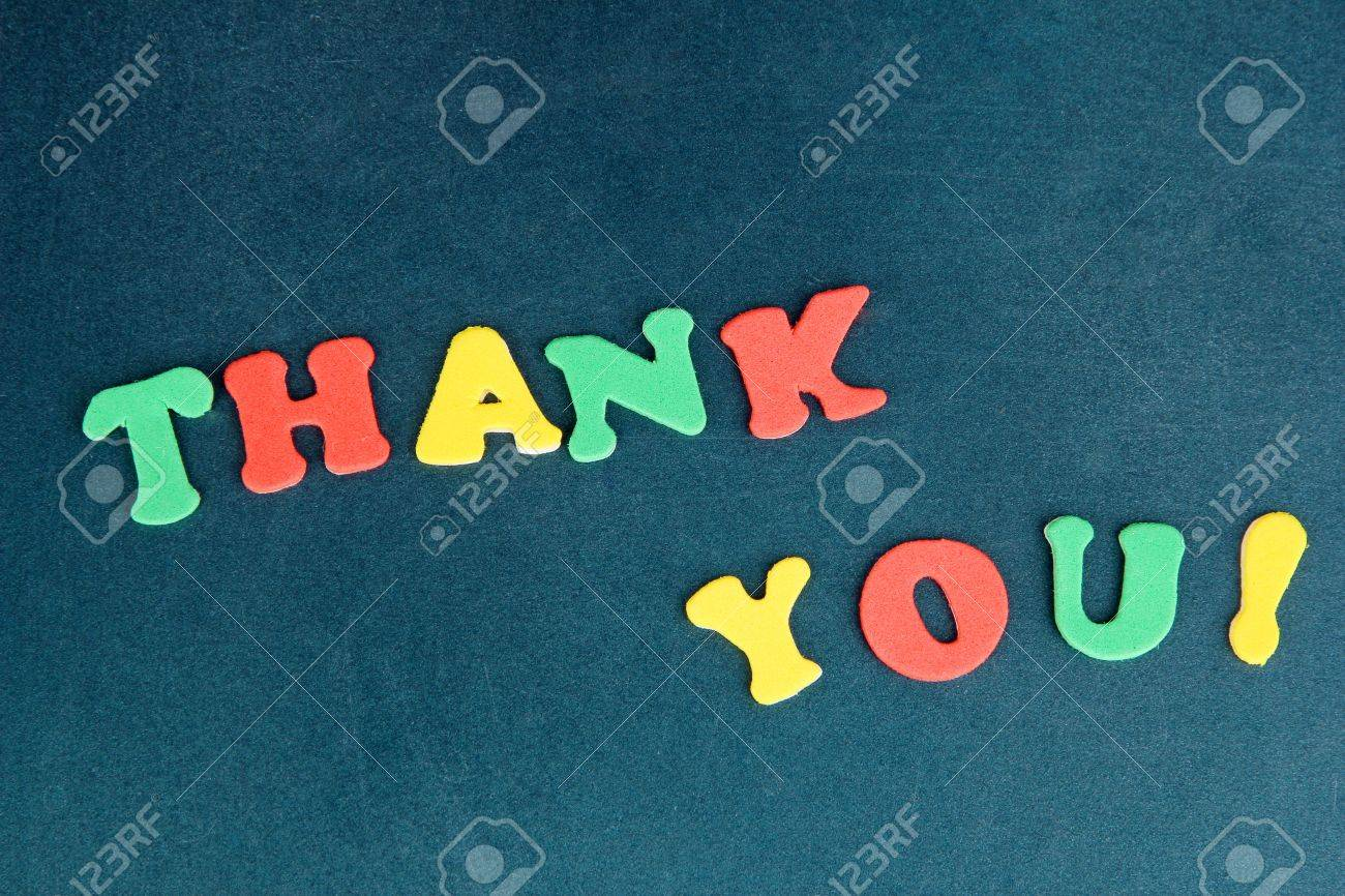 Thank you message written in colorful letters on school board close-up Stock Photo - 17518696