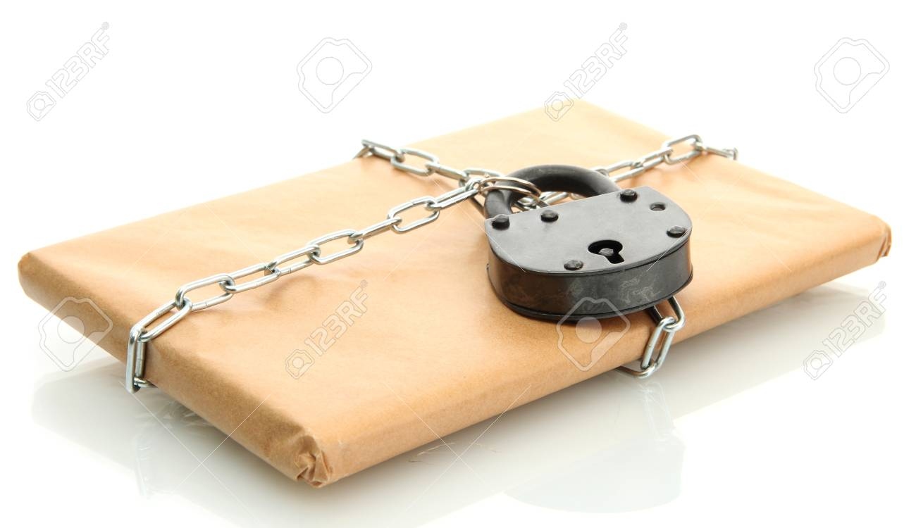parcel with chain and padlock, isolated on white Stock Photo - 17525790
