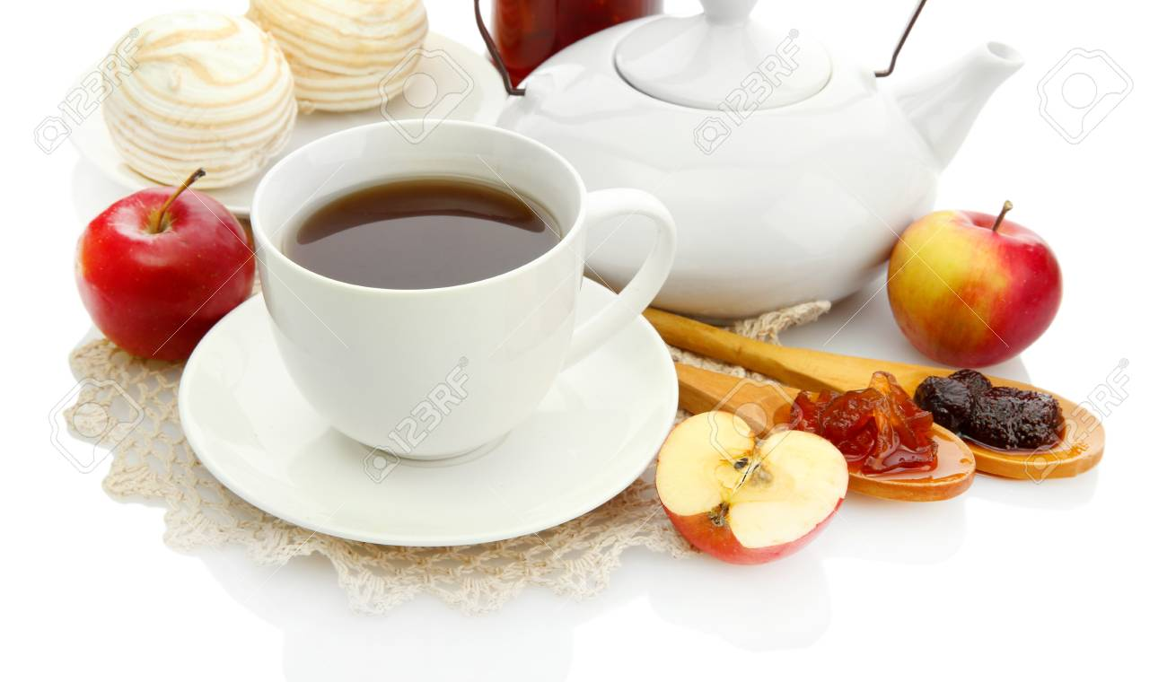 light breakfast with tea and homemade jam, isolated on white Stock Photo - 17770010