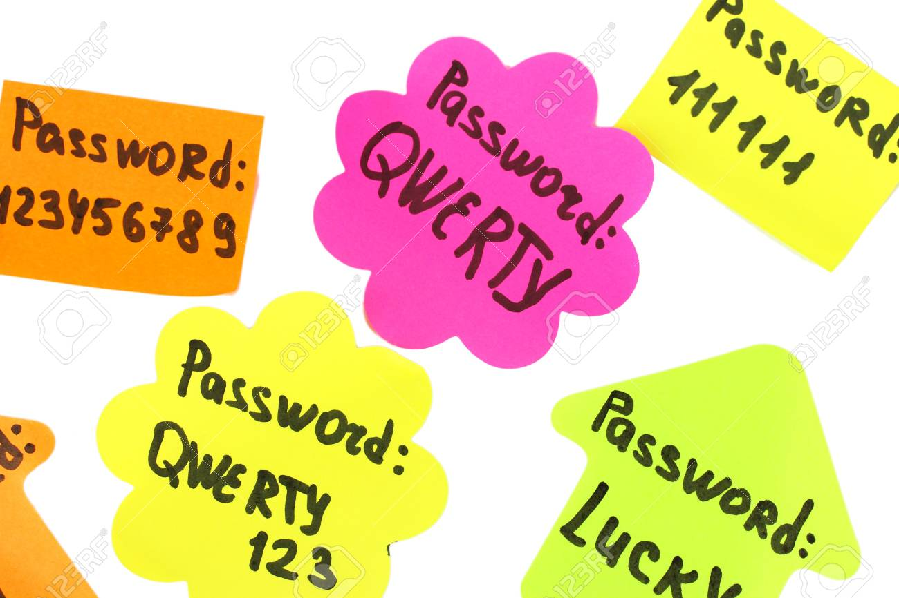 Password's reminders isolated on white Stock Photo - 17865809