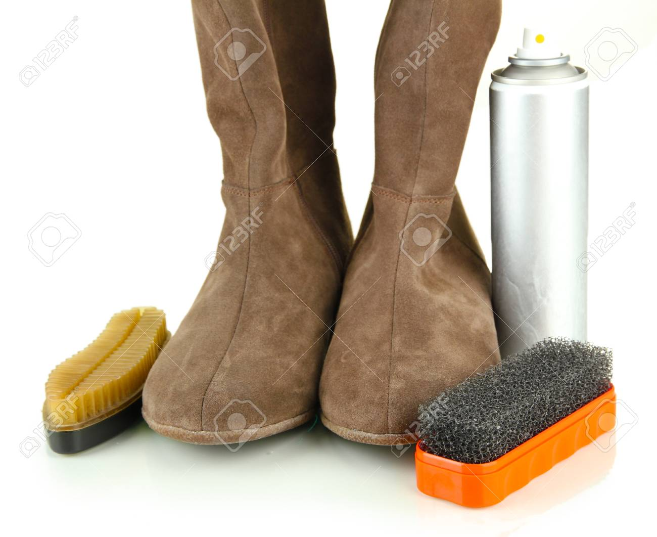 Set of stuff for cleaning and polish shoes, isolated on white Stock Photo - 17865791