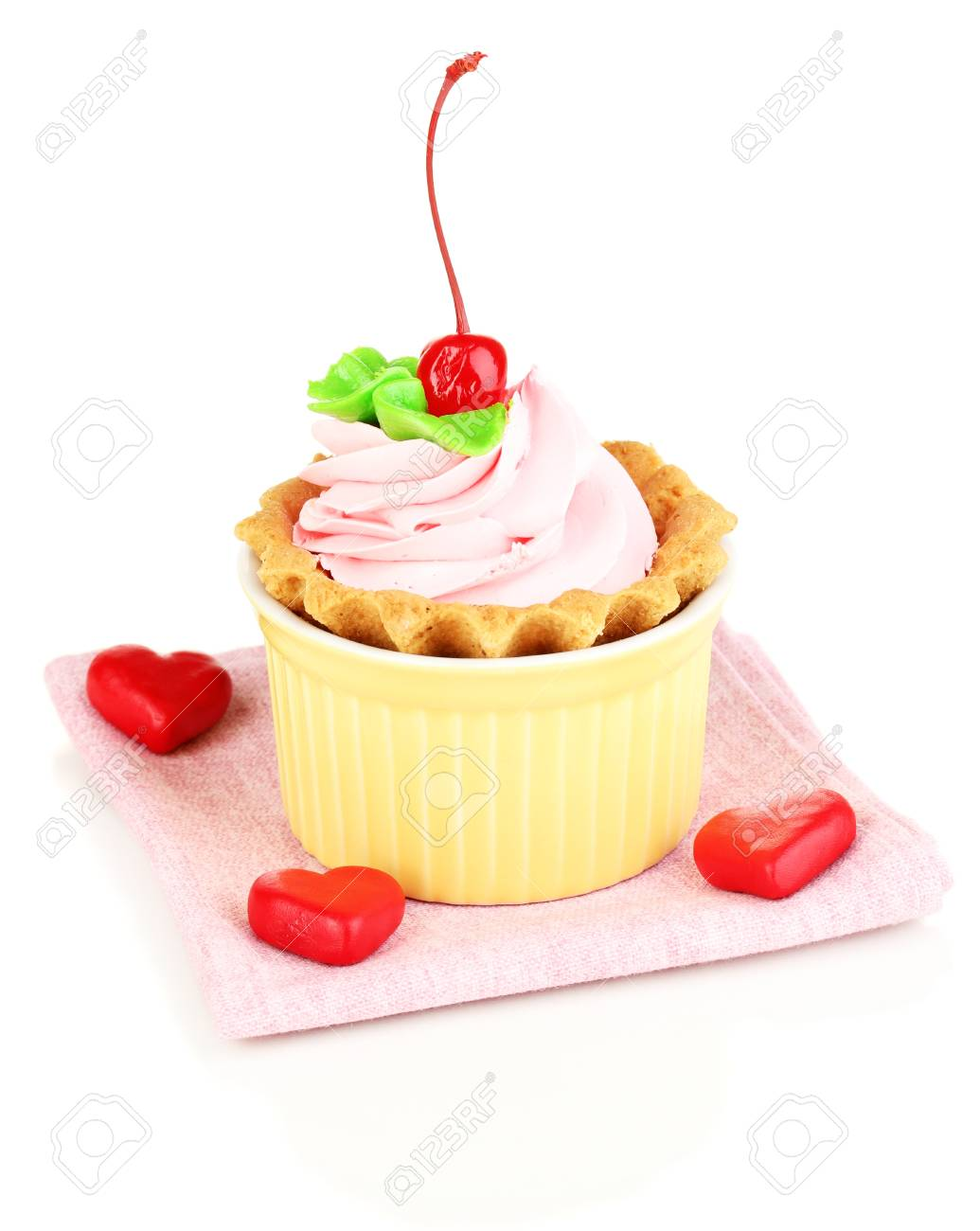 Kuchen Mit Kirschen In Schale Zum Backen Isoliert Auf Weiss