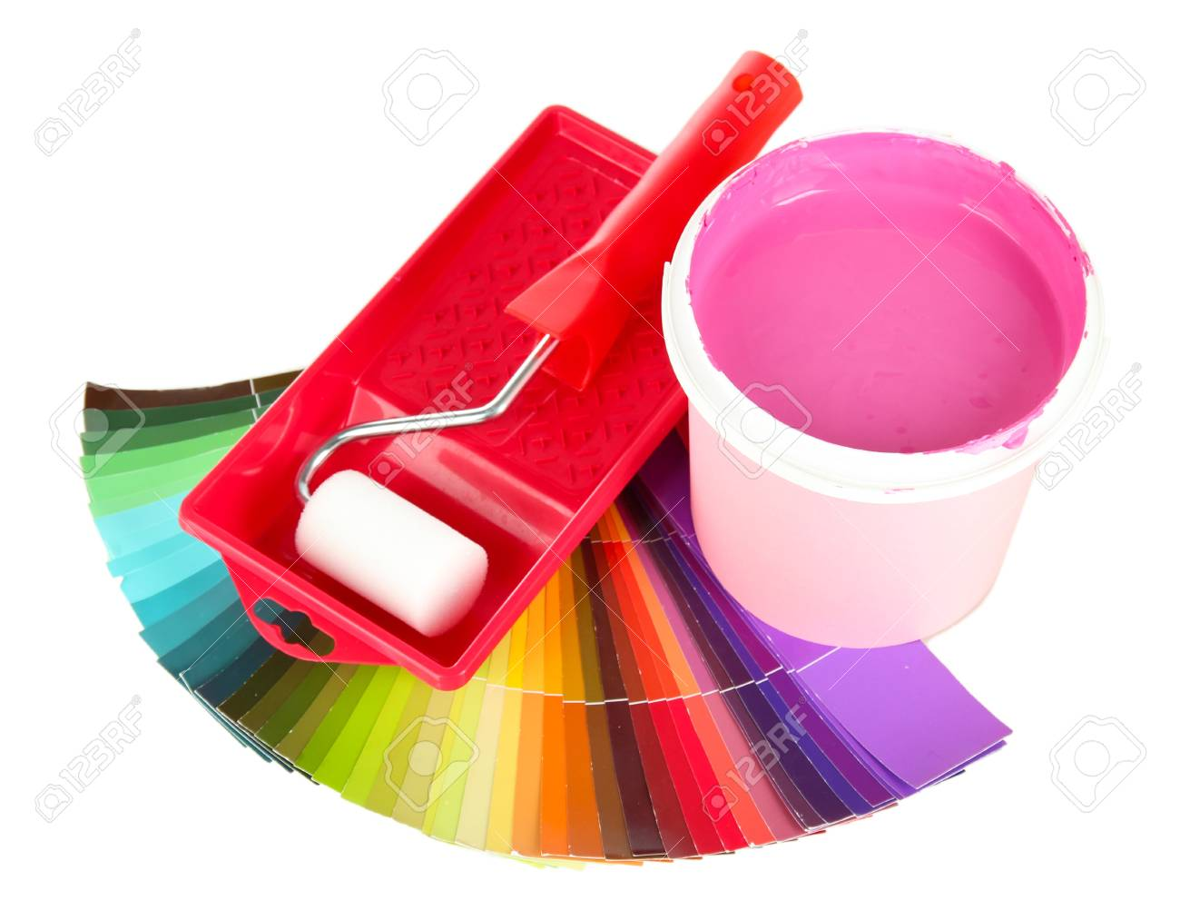 Set for painting: paint pot, paint-roller and palette of colors isolated on white Stock Photo - 18186593