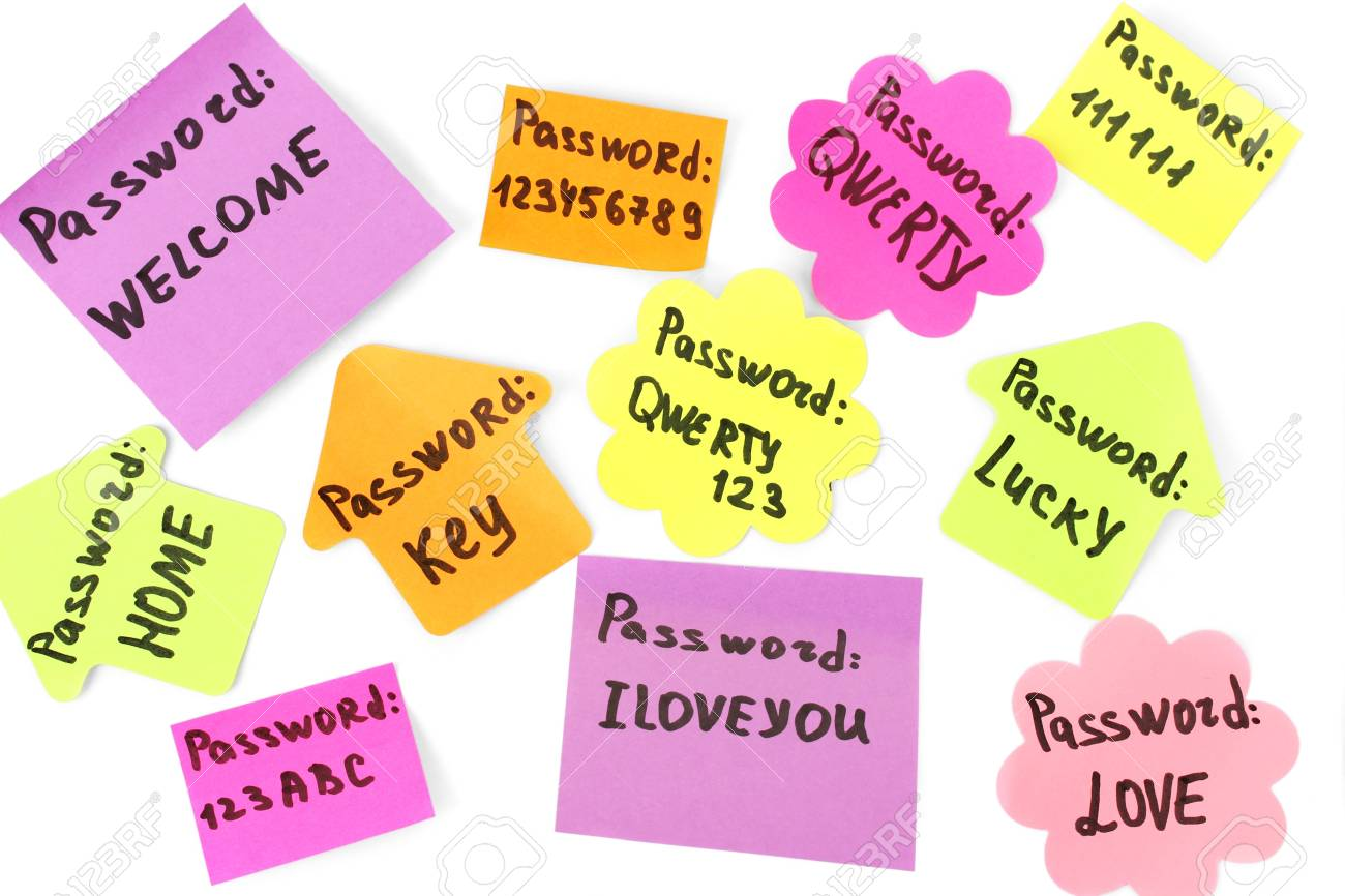Password's reminders isolated on white Stock Photo - 18216718