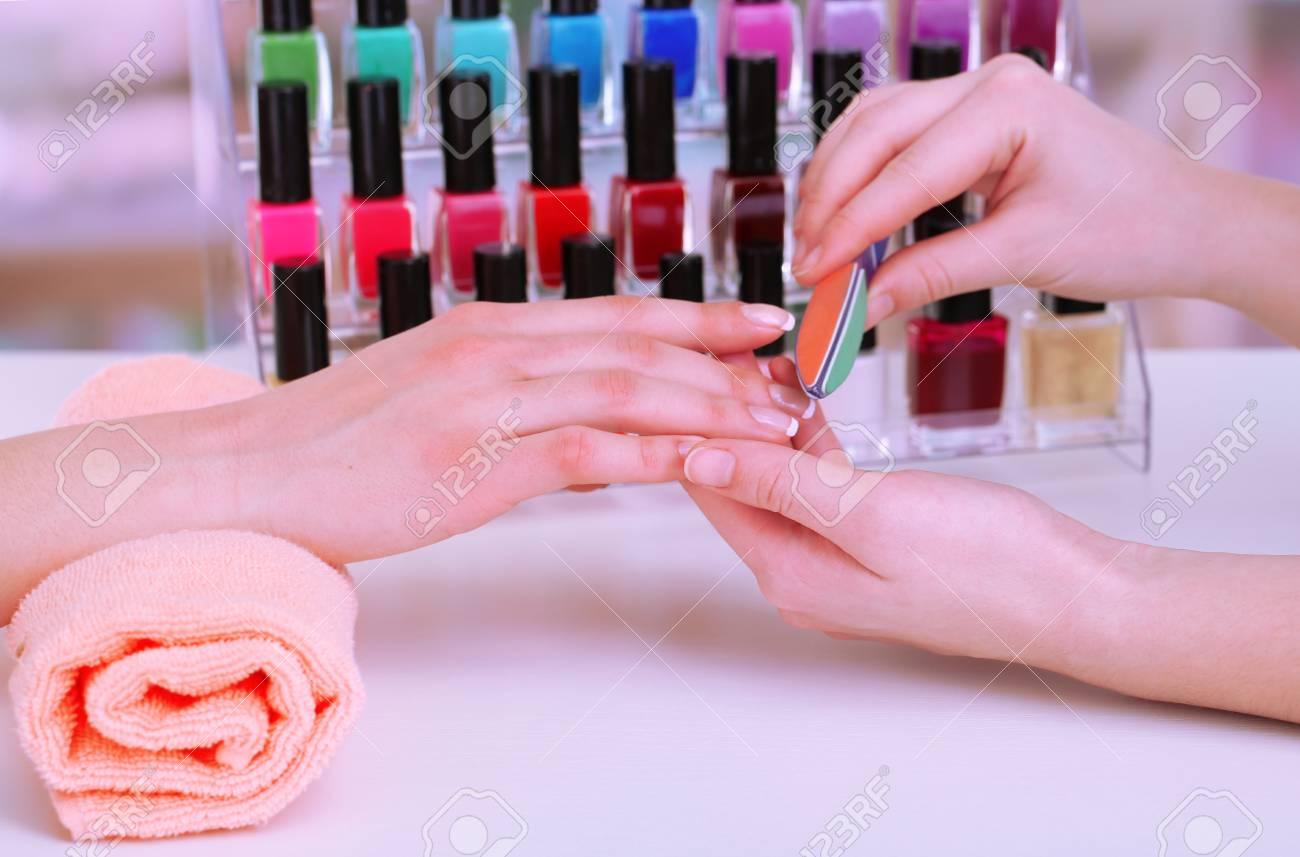 Manicure process in beauty salon, close up Stock Photo - 18230540