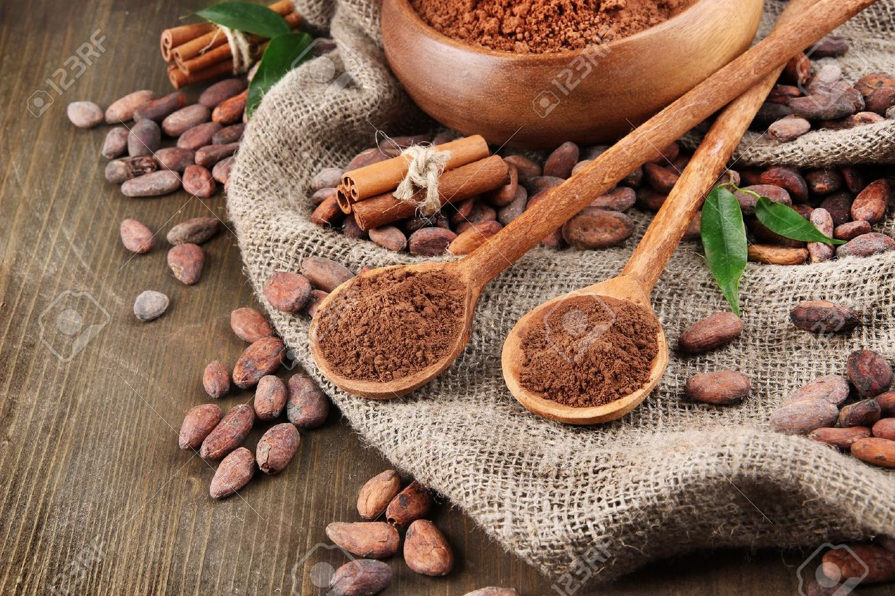 Cocoa powder and cocoa beans  on wooden background Stock Photo - 18474485