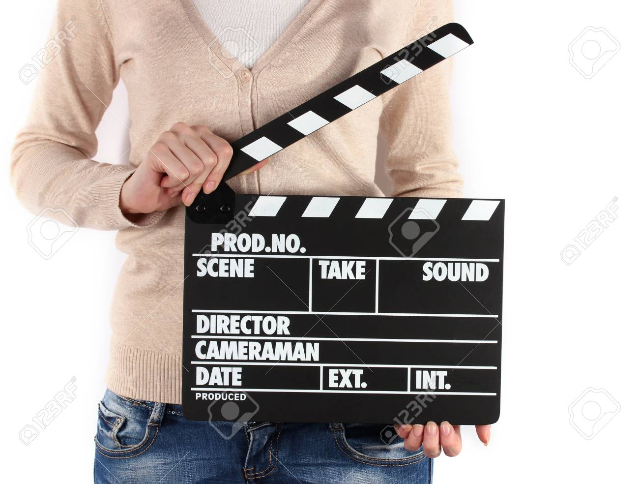 Movie production clapper board in hands isolated on white Stock Photo - 18695837