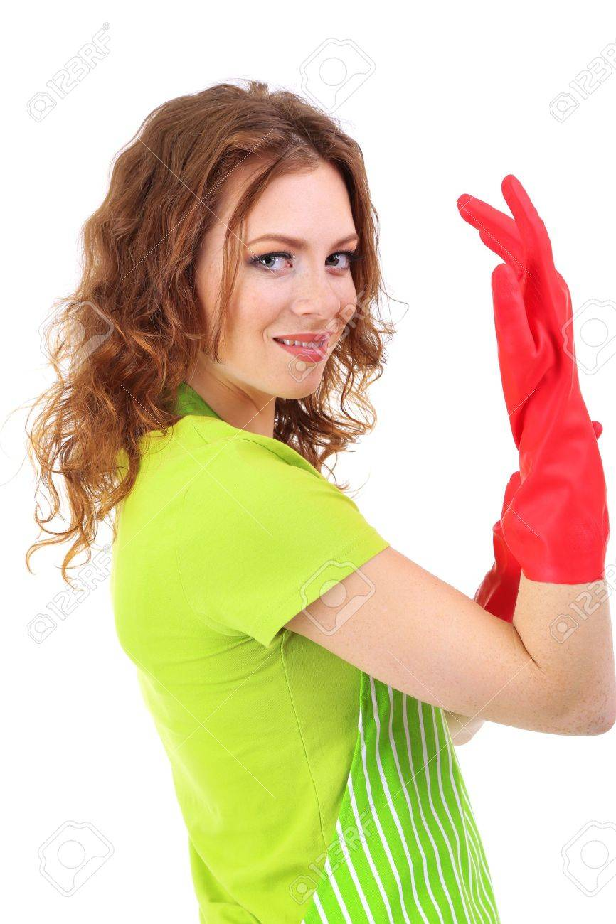 White apron ladies - White Apron Green Thumb Stock Photo Young Woman Wearing Green Apron And Rubber Gloves Isolated