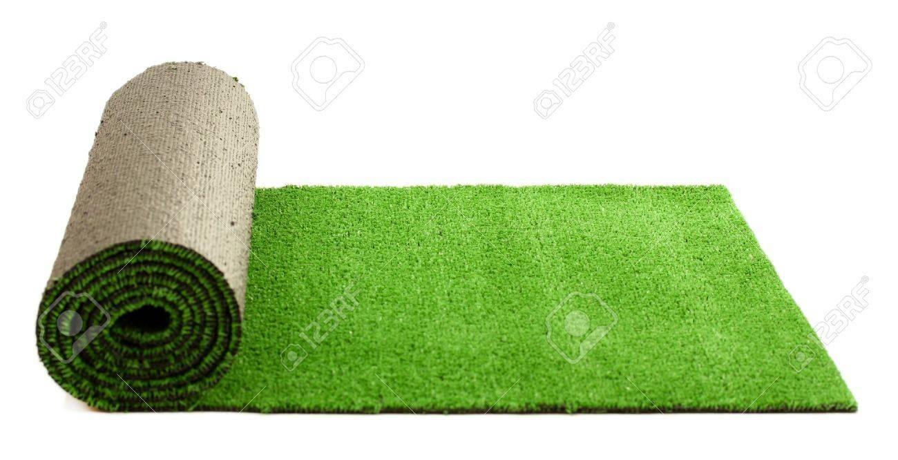Laminado Verde Césped Artificial, Aislado En Blanco Fotos, Retratos ...