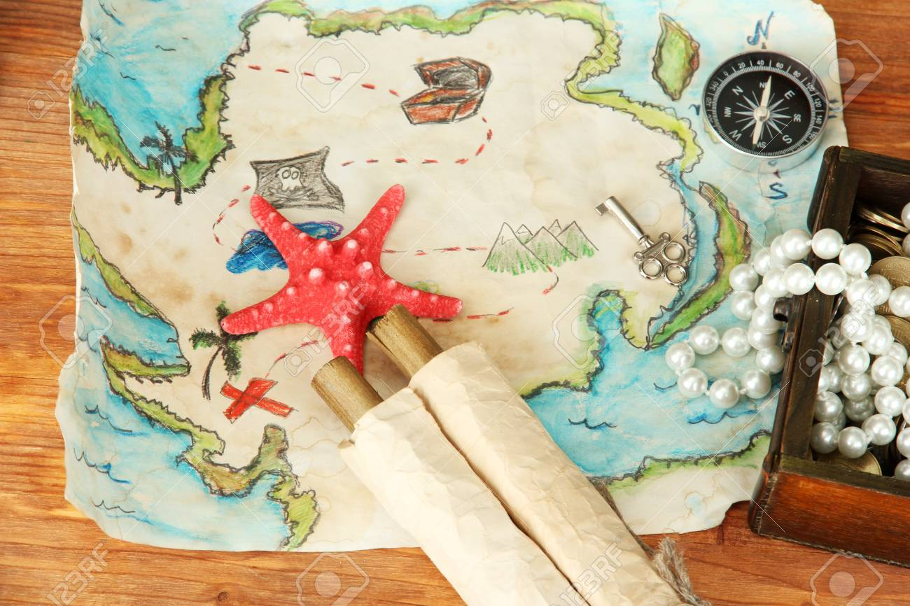 map of treasures on wooden background Stock Photo - 18805797