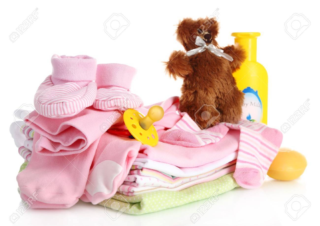 Pile of baby clothes isolated on white - 18941056